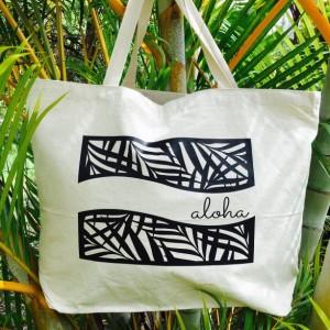 Aloha Palm Tote ~ Palm Frond Aloha Tote ~ Hawaii Tote ~ Canvas Tote ~ Tropical Leaf Tote ~ Hawaii Beach Bag
