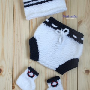Baby Sailor Cap, Diaper cover & Socks set