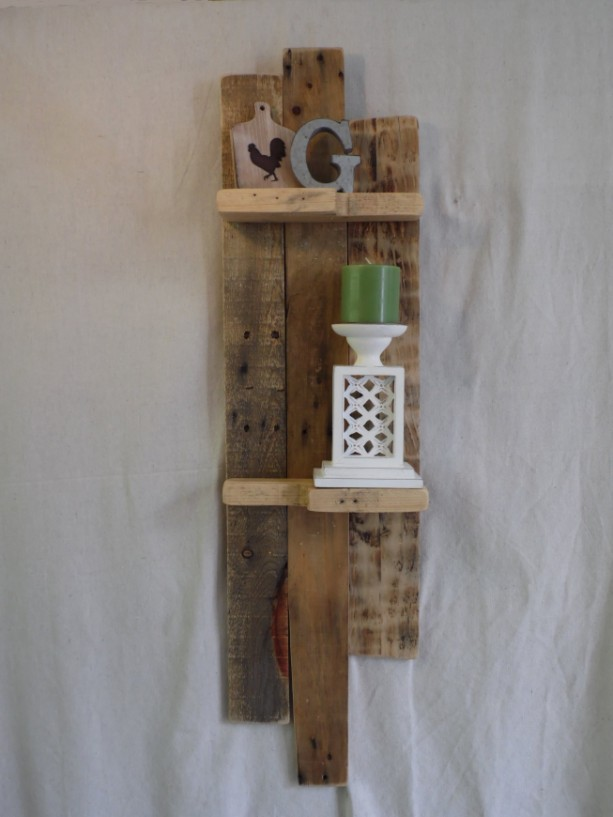 Long Pallet Wood Shelf, Rustic Pallet Shelf, Pallet Shelf, Wooden Shelf, Rustic Home Decor