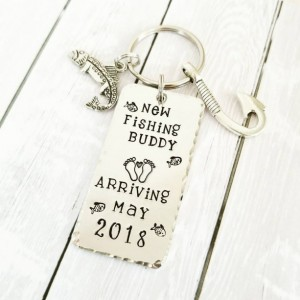 New Fishing Buddy - Baby Shower - Gender Reveal - Pregnancy Announcement - Fishing Key chain - Gift for New Dad - Grandpa Gift - New baby