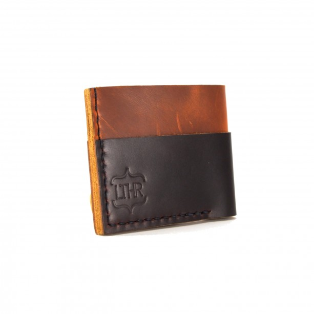 Horween Card and Cash Wallet in Brown and Burgundy