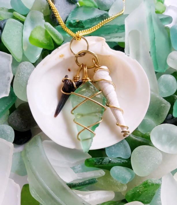 Sea glass, shell, and shark tooth charm necklace with gold wire, green sea glass, sea glass necklace, seashell necklace, charm necklace