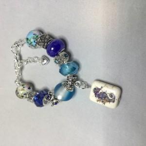 Blue Seahorse European Charm Bracelet