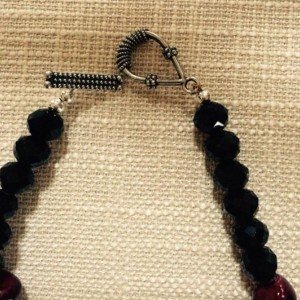 Black Glass,Chinese Maroon Nuggets,Round Silver Plated Beaded Set