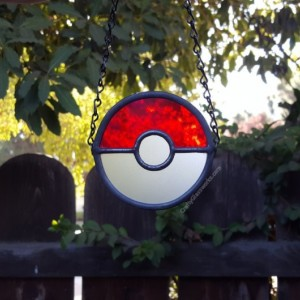 Pokeball Stained Glass Suncatcher