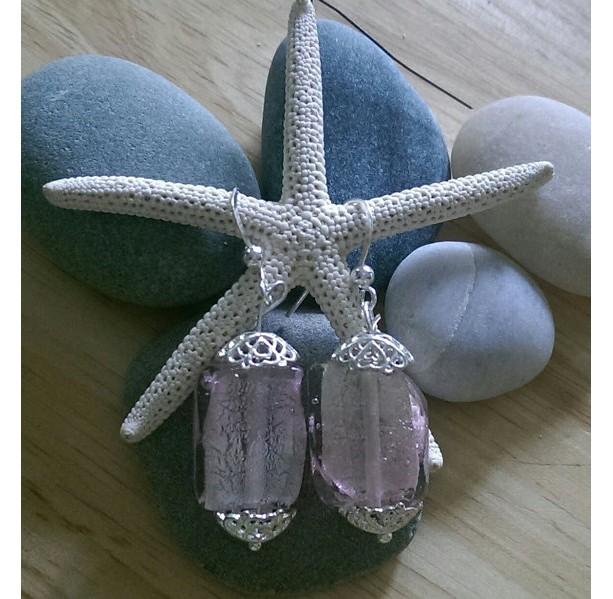 Pink and Silver Lampwork Earrings