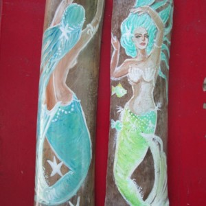 Hand Painted Aqua/ Teal Fantasy Mermaids On Drift wood Bamboo Mermaid Decor