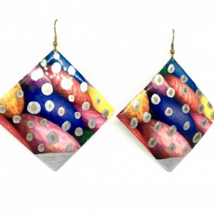 Handmade painted brass dangle earrings