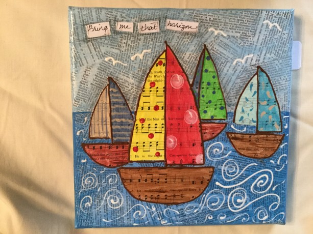 Mixed media sailboats Bring me that Horizon