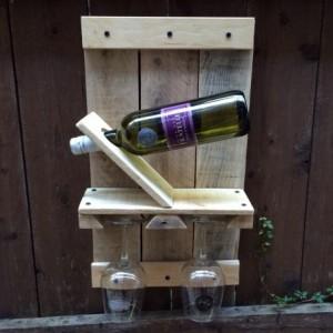 Rustic Handmade Wine Rack for 1 bottle and 2 glasses
