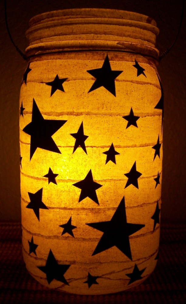 Primitive Folk Art Star Lantern Candle Holder