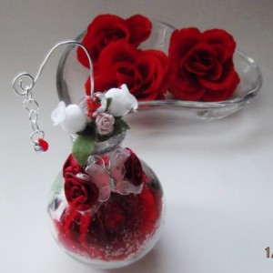 Rose in a glass cognac bottle Butterflies Hearts Roses Lampwork Glass Keepsake