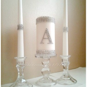 Unity Candle, Unity Wedding Candle Set, Silver Bling Monogram, White Unity Candle Set, Elegant Wedding Candle Set, Silver Wedding Unity Set
