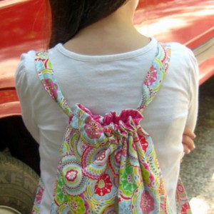 Fuchsia Medallion Child Drawstring Backpack