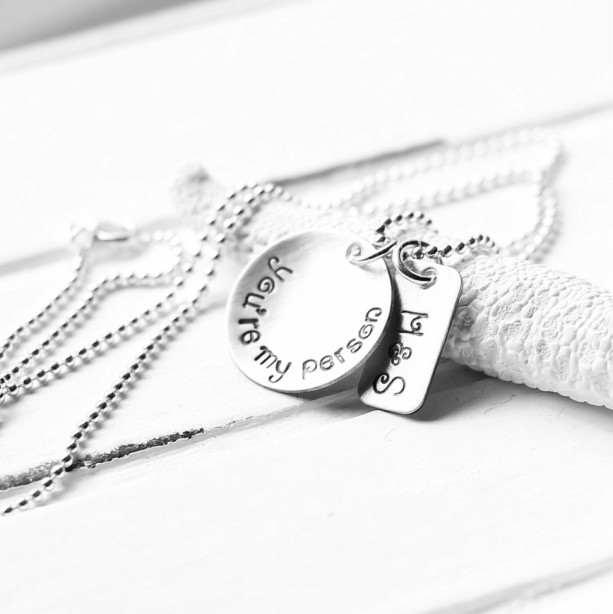 Greys Anatomy Necklace You/'re My Person Necklace Hand Stamped Initials Necklace