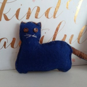 Hand-Sewn Goodnight Cat in Blue