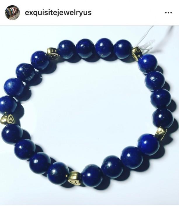 Exquisite, Gorgeous Lapis Lazuli/Heart Accents  Bracelet