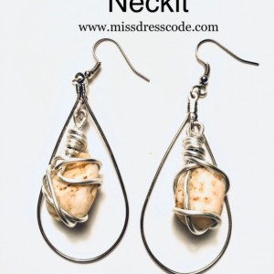 Wire Wrapped River Rock Teardrop Earrings