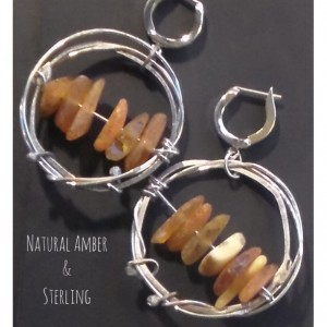 Raw Natural Amber and Sterling Silver Leverback earrings