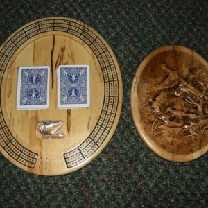 Pheasant Family 3 track oval cribbage board with storage