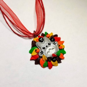 Polymer Clay Totoro Necklace Fall, Autumn, Leaves, My Neighbor Totoro