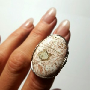 Crazy Lace Agate Ring, Size 7.5 - 8.5 Sterling Silver