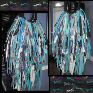 Upcycled Handmade Fringe Purse shades of blue,Custom Made,Unique,One Of A Kind,Hippie,BoHo,Funky,Purse