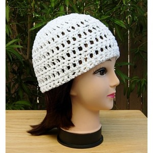 Solid Basic Bright White Summer Beanie, 100% Cotton Lace Skullcap, Women's Crochet Knit Hat, Lightweight Chemo Cap, Ready to Ship in 3 Days