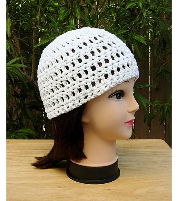 59475e7f8bde26 Solid White 100% Cotton Beanie Summer Hat, Chemo Cap | aftcra