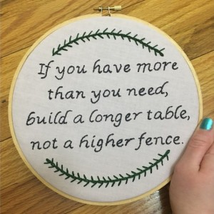 If You Have More Than Need Hand Embroidered Hoop Art, Embroidery Quote, Home Decor Wall Hanging, Modern Hand Embroidery