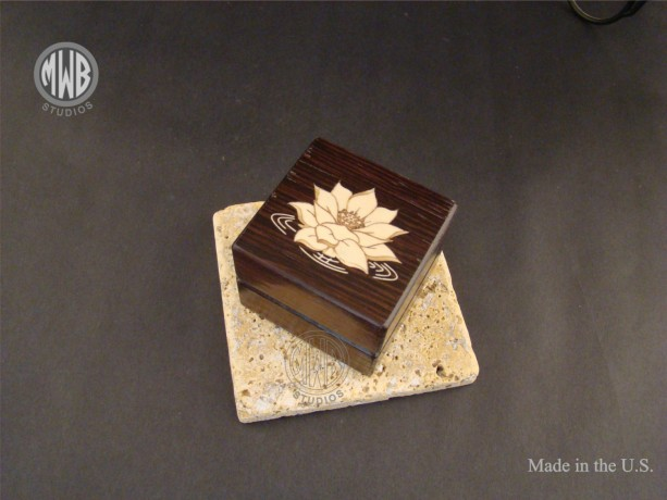 Inlaid Lotus Engagement Ring Box with Free Engraving and Shipping.  RB73