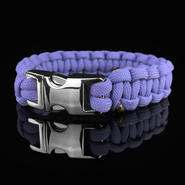 Lavender Designer Unisex Braided Survival Mil-Spec Type III 550 Parachute Cord with Full Metal Alloy Quick Detach Buckle (Chrome)