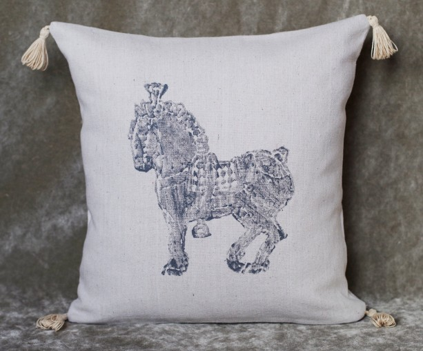 "16"" x 16"" Percheron Horse Pillow! Decorative hand stamped grey horse canvas pillow cover with tassels"
