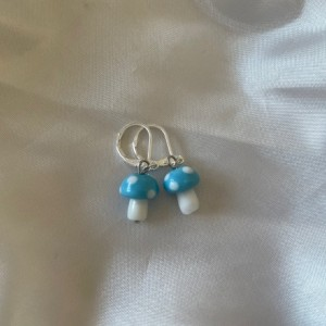 Mini Glass Mushroom Earrings (silver)