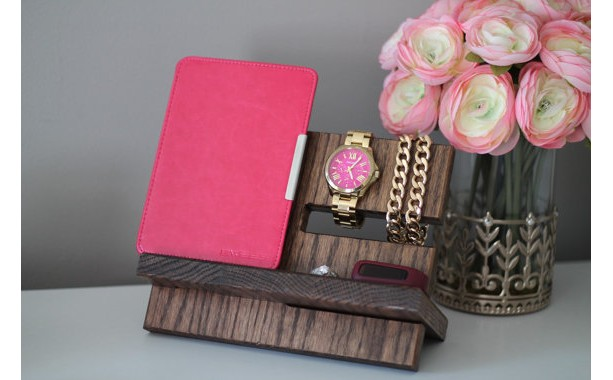 Wedding Gift! Oak Wood Valet iPhone Galaxy Charging Stand Nightstand Dock Graduation