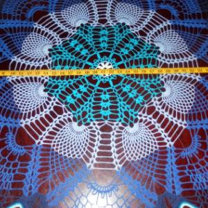 "Lovely Handmade Crochet Tablecloth Doily,BLUE 42"" ""Rainbow Peacock Tail"", 100% Cotton, USA FREE shipping"