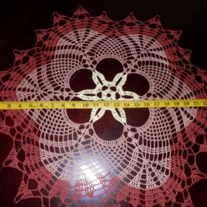 """Lovely Handmade Crochet Tablecloth Doily, BROWN Colors, Round, 24.5"""", 100% Cotton"""