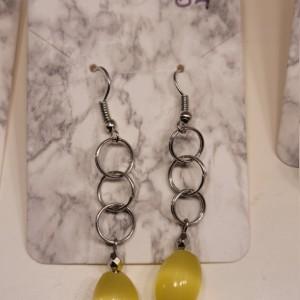 Triple circle with yellow bead earrings