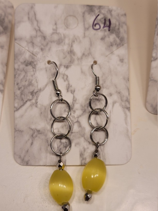 Triple circle with yellow bead earrings