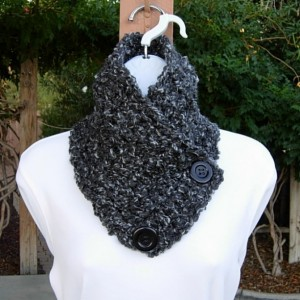Light & Dark Gray Chunky NECK WARMER SCARF with Large Black Buttons, Extra Soft Crochet Knit Winter Cowl, Women's or Men's Scarf, Ready to Ship in 3 Days