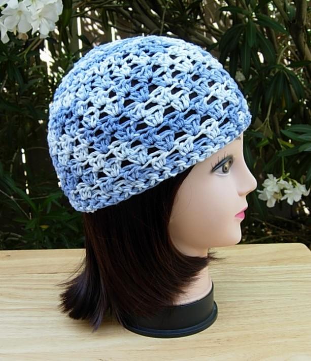 Denim Blue 100 Cotton Summer Crochet Knit Beanie Hat Aftcra
