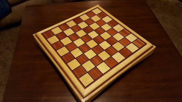 Chessboard made from bubinga and quilted maple with ebony inlays