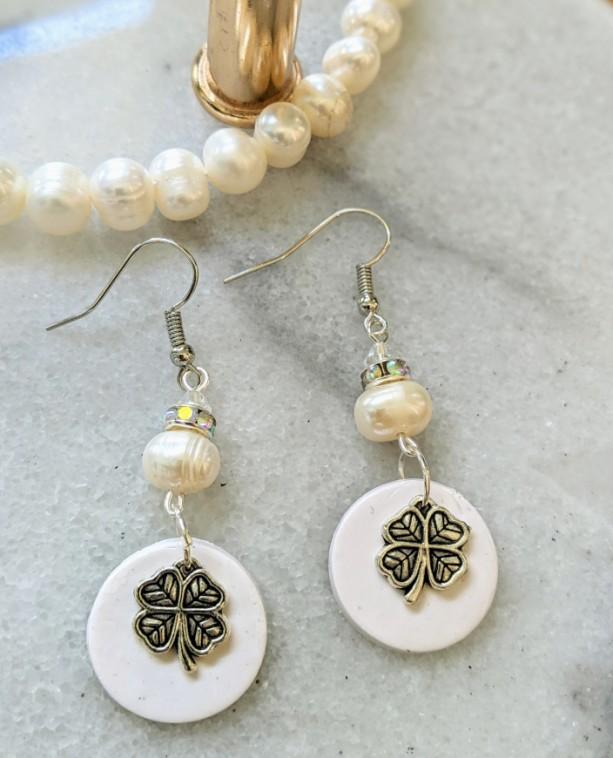 Lucky Dangle earrings - Four Leafs Clover charm earrings - White bridal earrings | Boho earrings