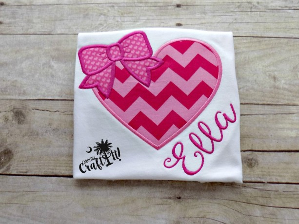 Valentines Day Girls Tshirt, Toddlers, Infants,Pink Heart, Pink Bows, Personalized, Embroidered, Appliqued