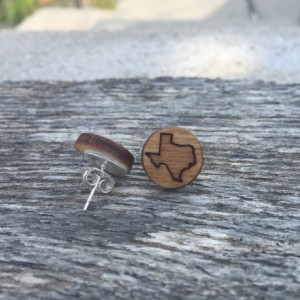 Wooden Texas Outline State Small Stud Earrings