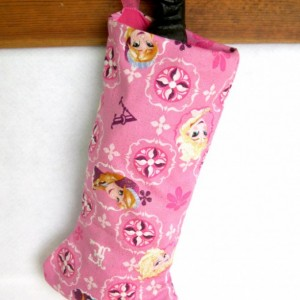 Pink Princess Handmade Christmas Stocking, Sisters Characters Xmas Stocking, Lined Xmas Stocking, Princess Glitter Fabric Holiday Sock
