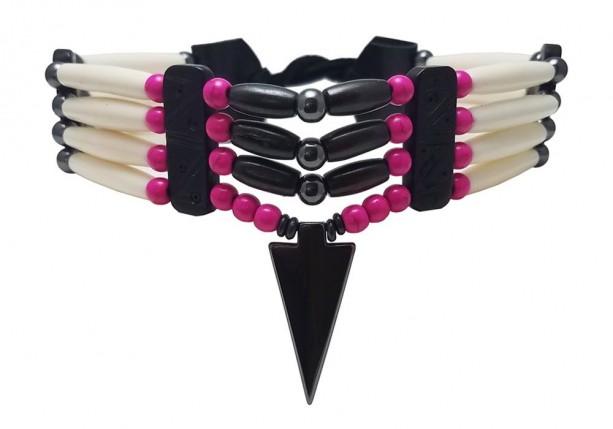 Traditional 4 Row Buffalo Bone Hairpipe Beads Tribal Choker Necklace with Arrowhead Pendant