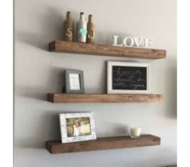 "FREE SHIPPING 42"" Wood Floating Shelf  Rustic Design  20 Finish Colors Avail  Hand Made to Order"