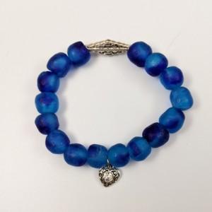 The Kallie | handmade blue African sea glass stretch bracelet, krobo beads, variegated glass, rhombus, Ghana recycled glass, Gifts for Her