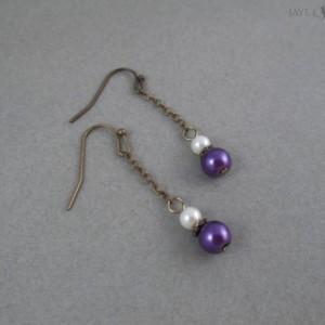 Bronze Glass Pearl Dangle Earrings - Multiple Colors